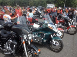 Members of the Red Knights International ride to the National Fallen Firefighters Memorial in Emmitsburg, MD in 2012
